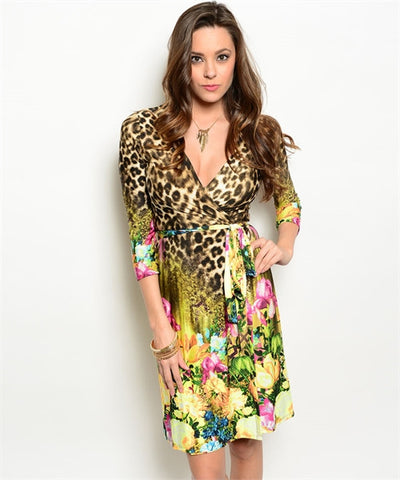 Leopard Floral Wrap Dress