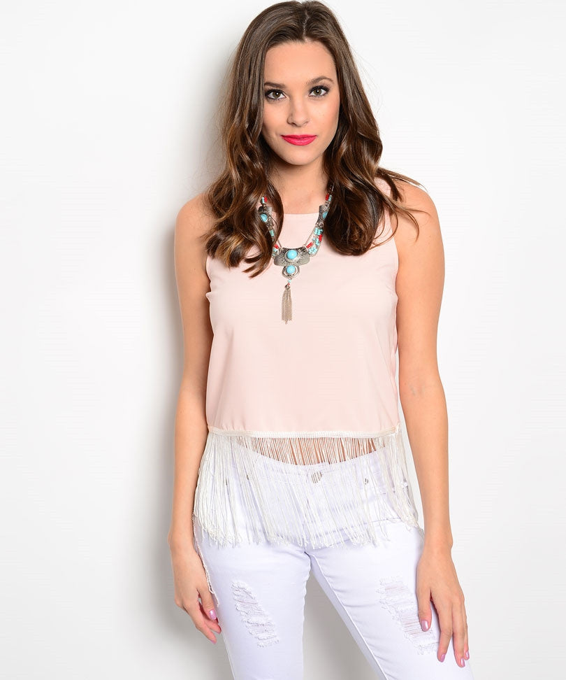Pretty Me Peach Tassel Top