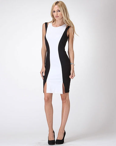 Black + White Slit Dress