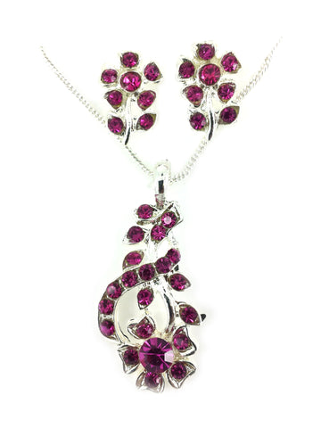 Tiny Floral Necklace & Earring Set by Speed MD070