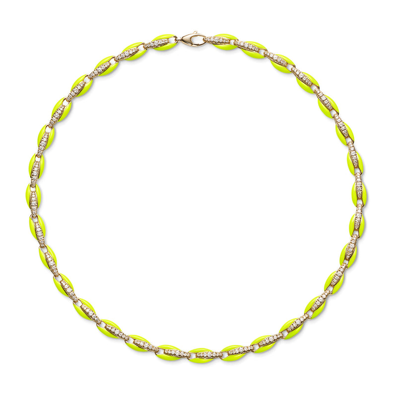 ADA NECKLACE (Enamel: Neon Yellow)