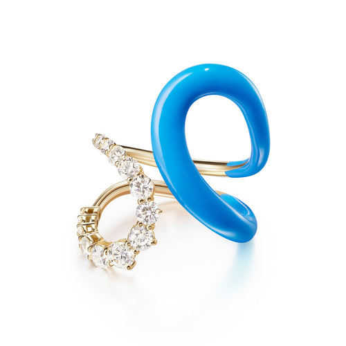 ARIA JANE RING (Enamel: Neon Blue)