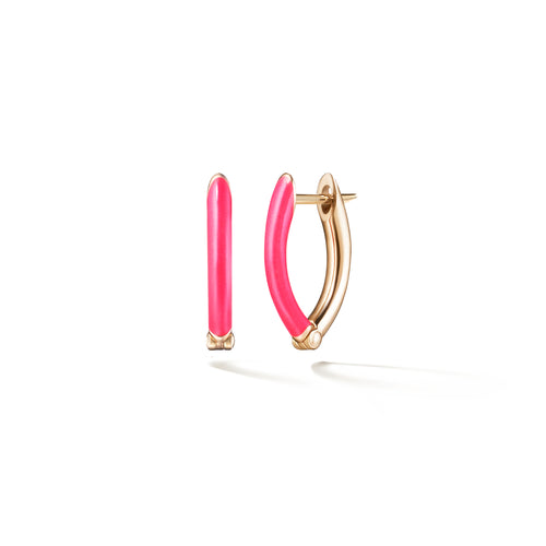 CRISTINA EARRING Small (Enamel: Neon Pink)