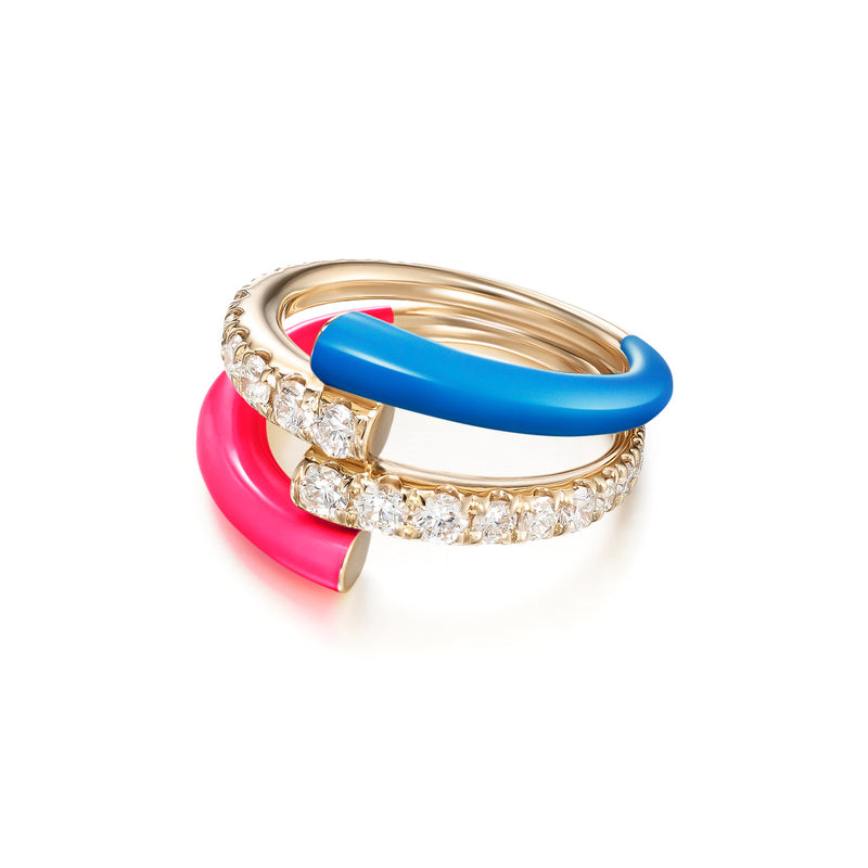 LOLA DOUBLE RING (Enamel: Neon Pink and Blue)