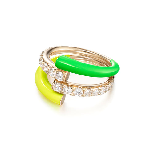 LOLA DOUBLE RING (Enamel: Neon Yellow and Green)