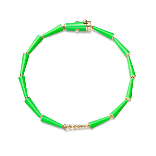 LOLA LINKED BRACELET (Enamel: Neon Green)