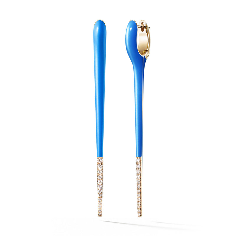 LOLA NEEDLE EARRING Large (Enamel: Neon Blue with Diamond Tip)
