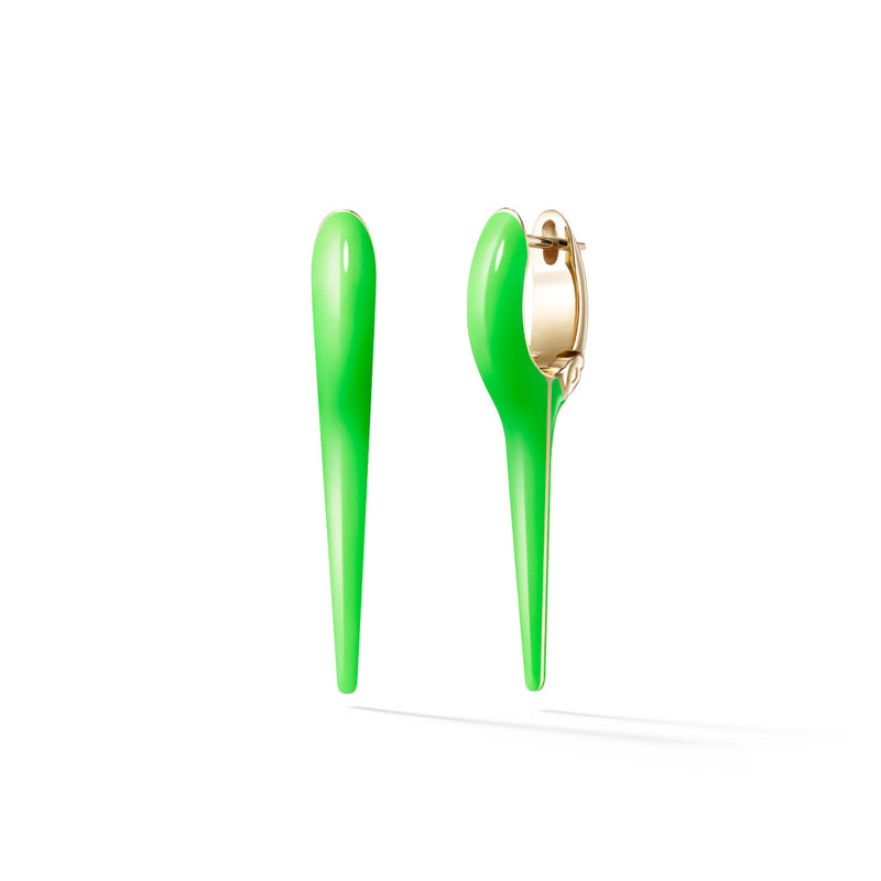 LOLA NEEDLE EARRING Small (Enamel: Neon Green)