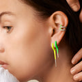 LOLA NEEDLE EARRING Small (Enamel: Neon Green with Diamond Tip)