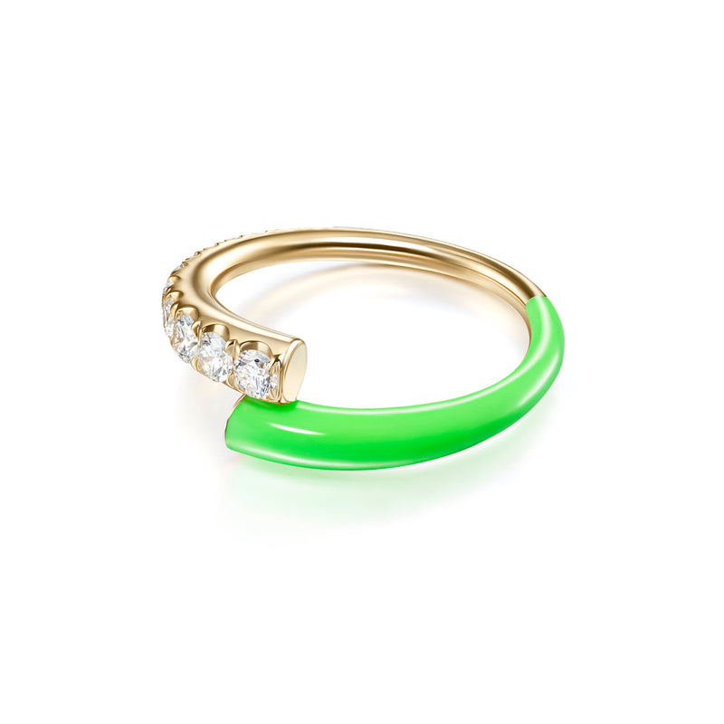 LOLA RING (Enamel: Neon Green)