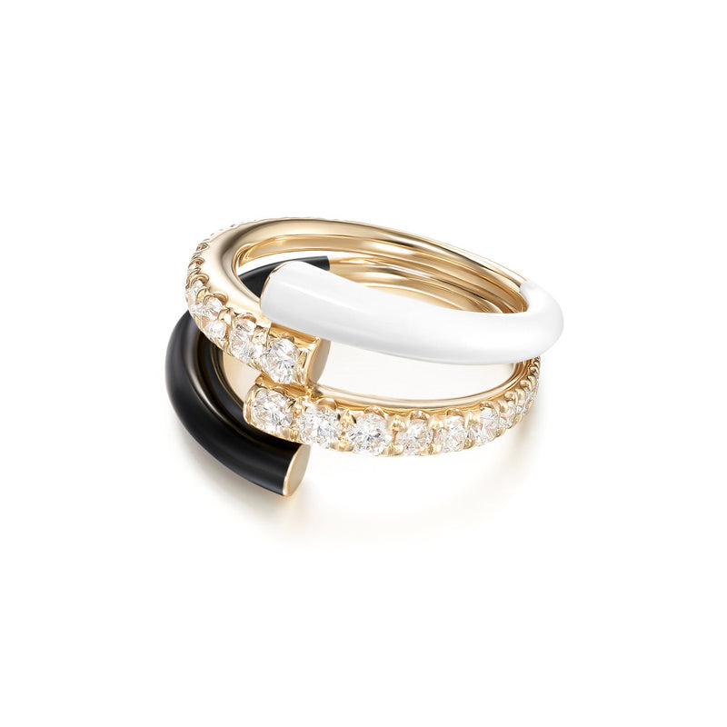 LOLA DOUBLE RING (Enamel: Black and White)