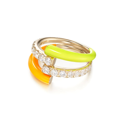 LOLA DOUBLE RING (Enamel: Neon Yellow and Orange)
