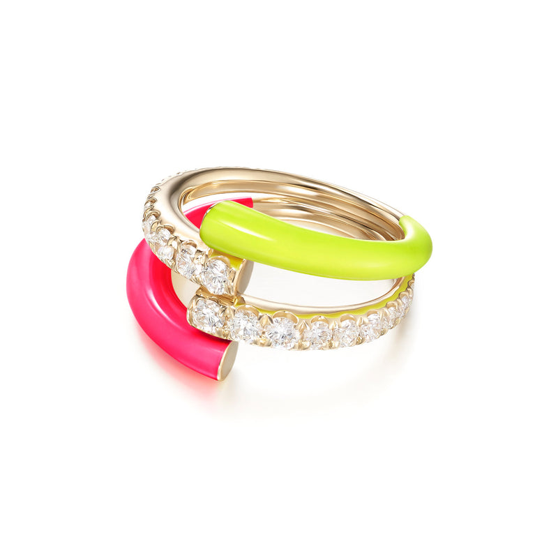 LOLA DOUBLE RING (Enamel: Neon Yellow and Pink)