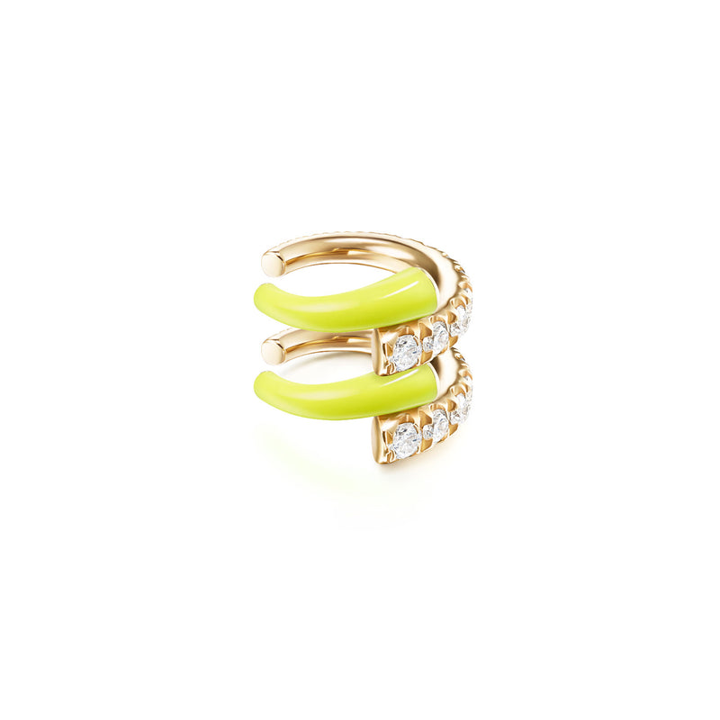LOLA EARCUFF DOUBLE (Enamel: Neon Yellow)