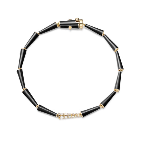 LOLA LINKED BRACELET (Enamel: Black)