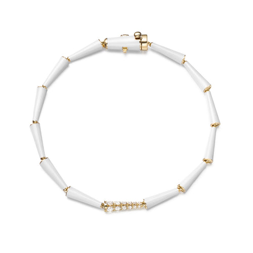 LOLA LINKED BRACELET (Enamel: White)