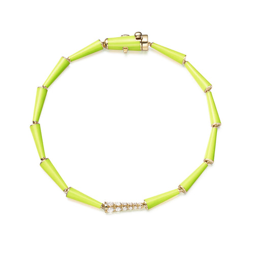 LOLA LINKED BRACELET (Enamel: Neon Yellow)