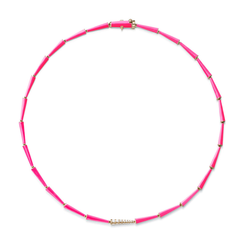 LOLA LINKED NECKLACE (Enamel: Neon Pink)