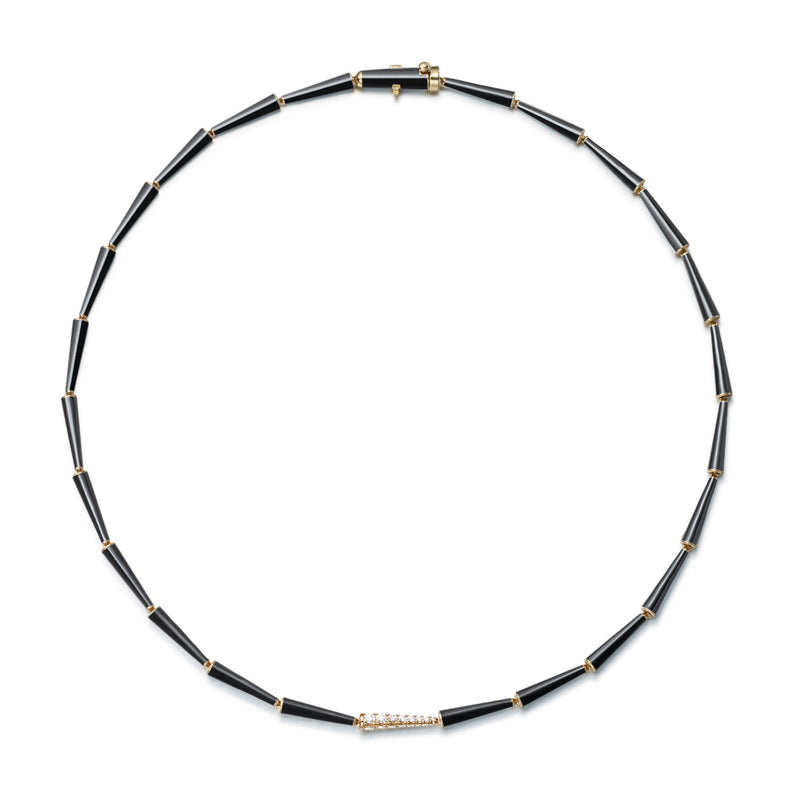 LOLA LINKED NECKLACE (Enamel: Black)