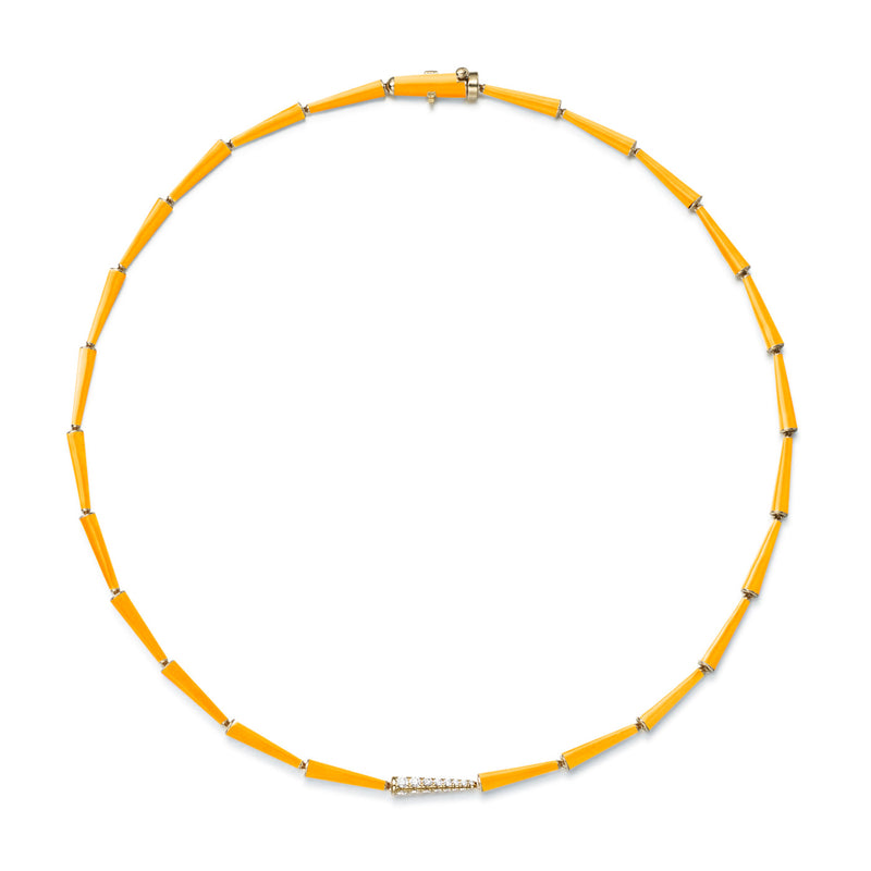 LOLA LINKED NECKLACE (Enamel: Neon Orange)