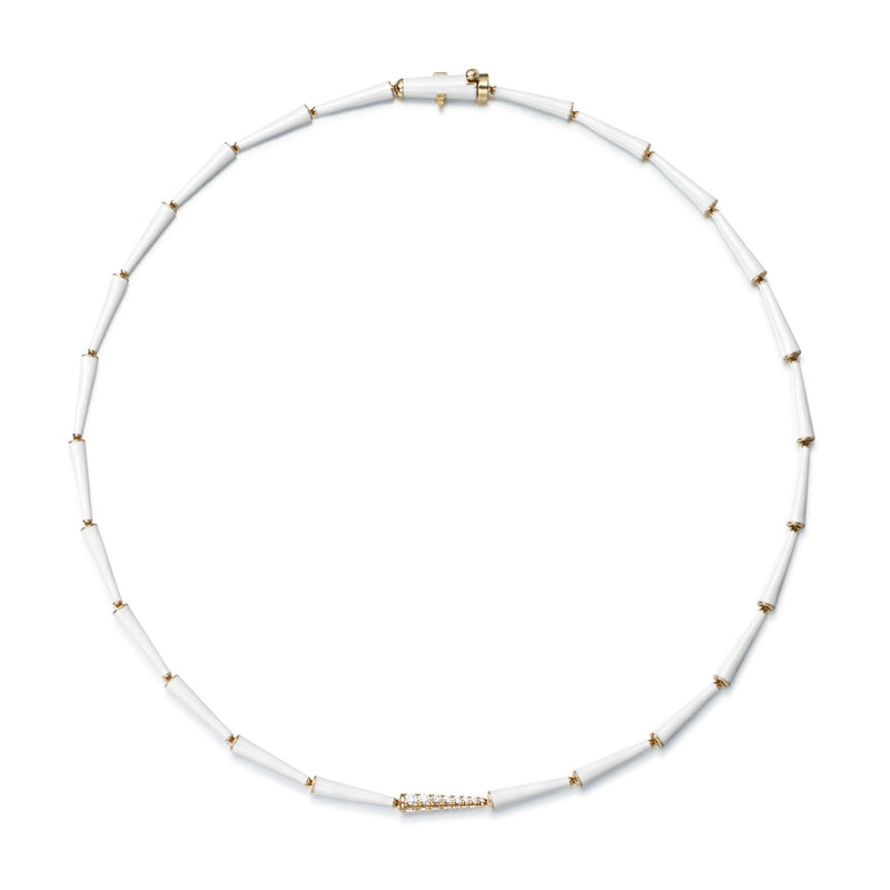 LOLA LINKED NECKLACE (Enamel: White)