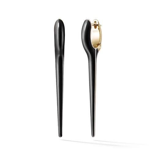 LOLA NEEDLE EARRING Medium (Enamel: Black)