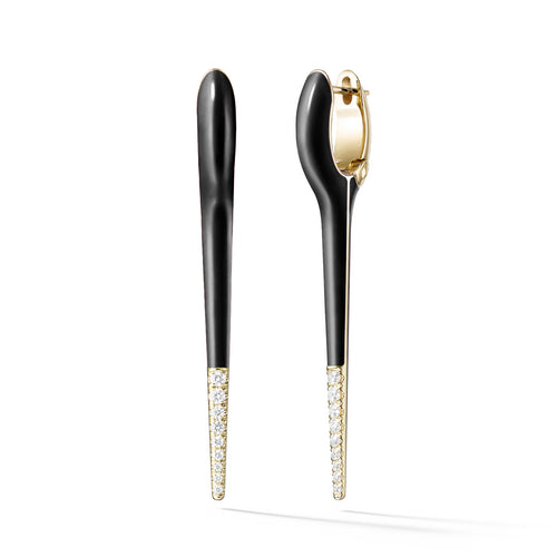 LOLA NEEDLE EARRING Medium (Enamel: Black with Diamond Tip)