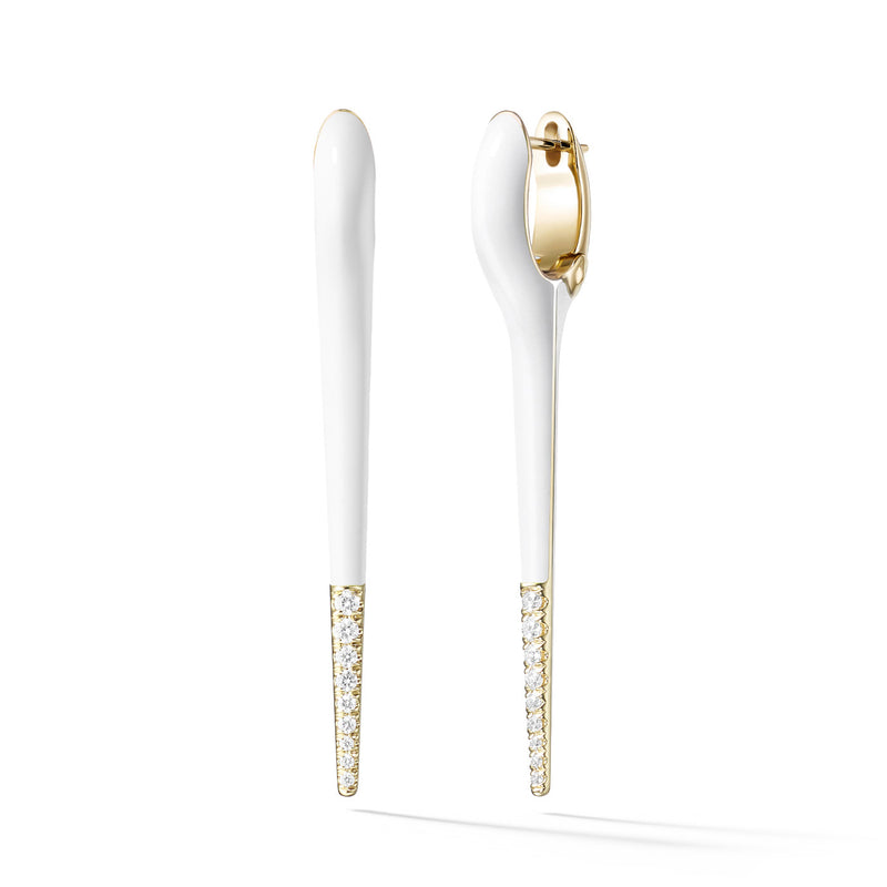 LOLA NEEDLE EARRING Medium (Enamel: White with Diamond Tip)