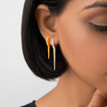 LOLA NEEDLE EARRING Small (Enamel: Neon Orange)