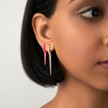LOLA NEEDLE EARRING Small (Enamel: Neon Pink)