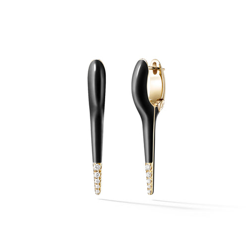 LOLA NEEDLE EARRING Small (Enamel: Black with Diamond Tip)