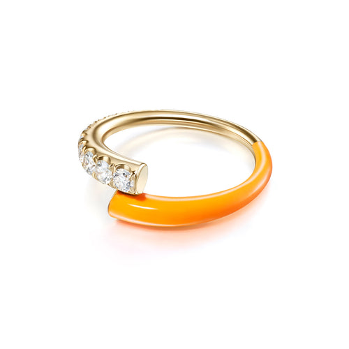 LOLA RING (Enamel: Neon Orange)