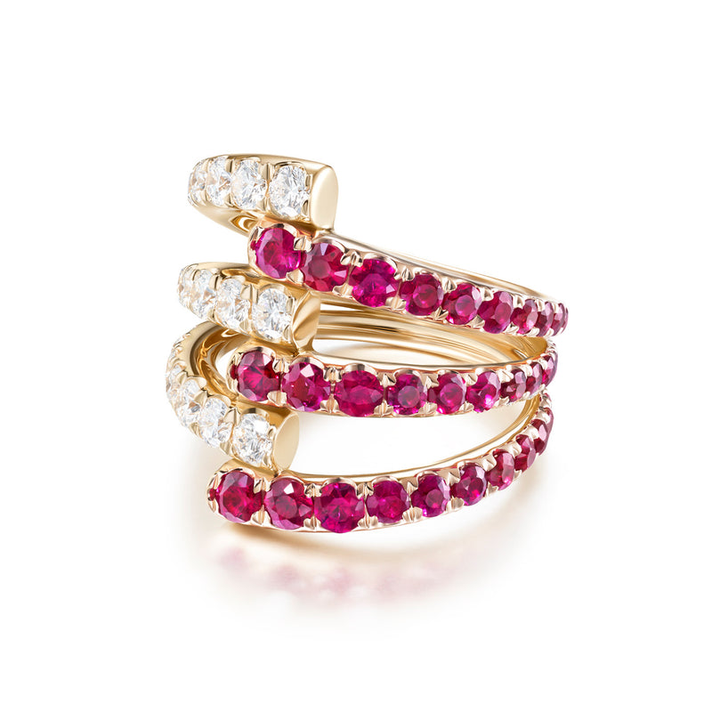LOLA TRIPLE RING (Ruby)