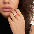 LOLA RING (Enamel: Neon Yellow)