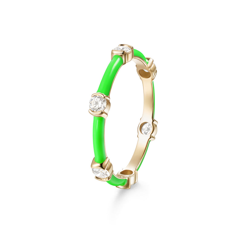 ZEA RING (Enamel: Neon Green)