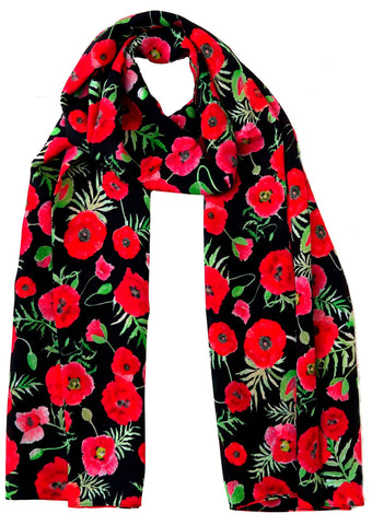 Floral Silk Scarve Crepe De Chine 100% with original floral prints, poppy, thistle, shamrock - Blooms of London - Designs inspired by nature