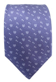 Hearts Print Blue Silk Tie - Blooms of London - Designs inspired by nature