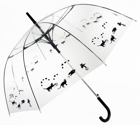 Black Cats Playing with wool knot Transparent Umbrella - Blooms of London - Designs inspired by nature