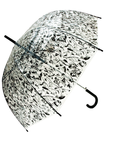 Heart Leaf Black Transparent Umbrella - Blooms of London - Designs inspired by nature