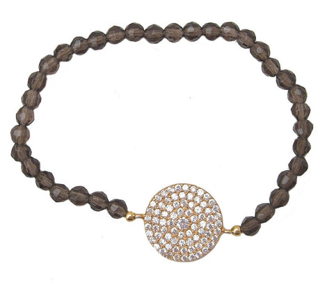 Brown natural stone adjustable bracelet - Blooms of London - Designs inspired by nature