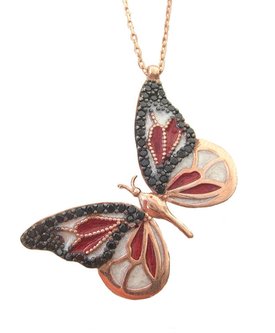 Enamel black and red butterfly necklace - Blooms of London - Designs inspired by nature