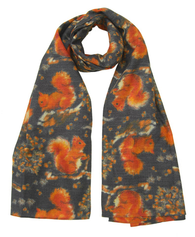 Red Squirrel Scarf - Blooms of London - Designs inspired by nature