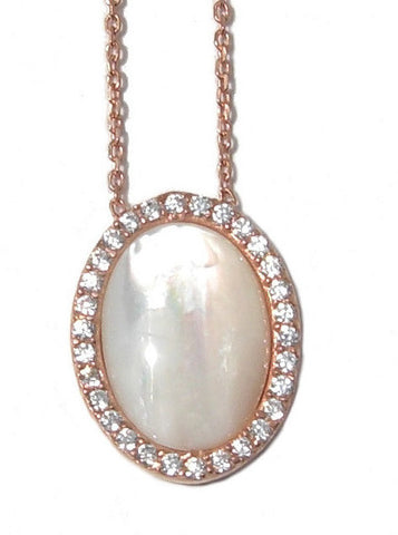 Pearl necklace with crystal encrusted oval frame - Blooms of London - Designs inspired by nature