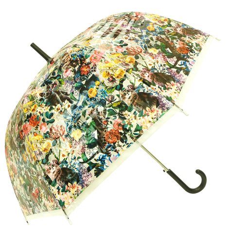 Cats in Floral Garden Transparent Umbrella - Blooms of London - Designs inspired by nature