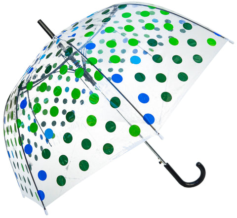 Peacock Polka Clear Straight Umbrella - Blooms of London - Designs inspired by nature