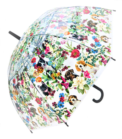 Puppies in Floral Garden Transparent Umbrella