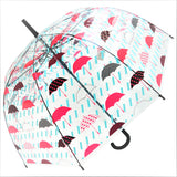 Red Umbrella and Rain Drops  Print Transparent Umbrella