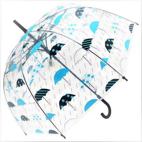 Blue Umbrella and Rain Drops  Print Transparent Umbrella