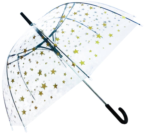 Gold Stars Print Transparent Umbrella - Blooms of London - Designs inspired by nature