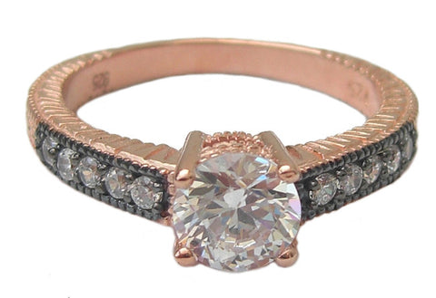 Rose gold vermeil ring encrusted round crystal stone - Blooms of London - Designs inspired by nature